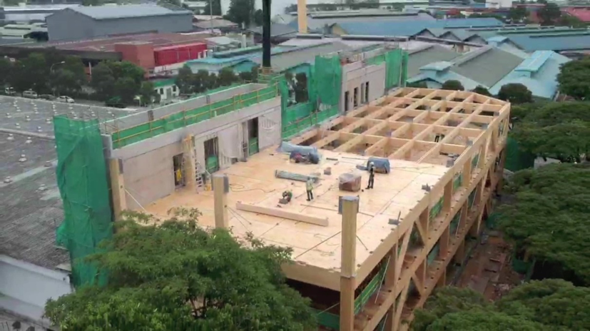 installation of glulam beams